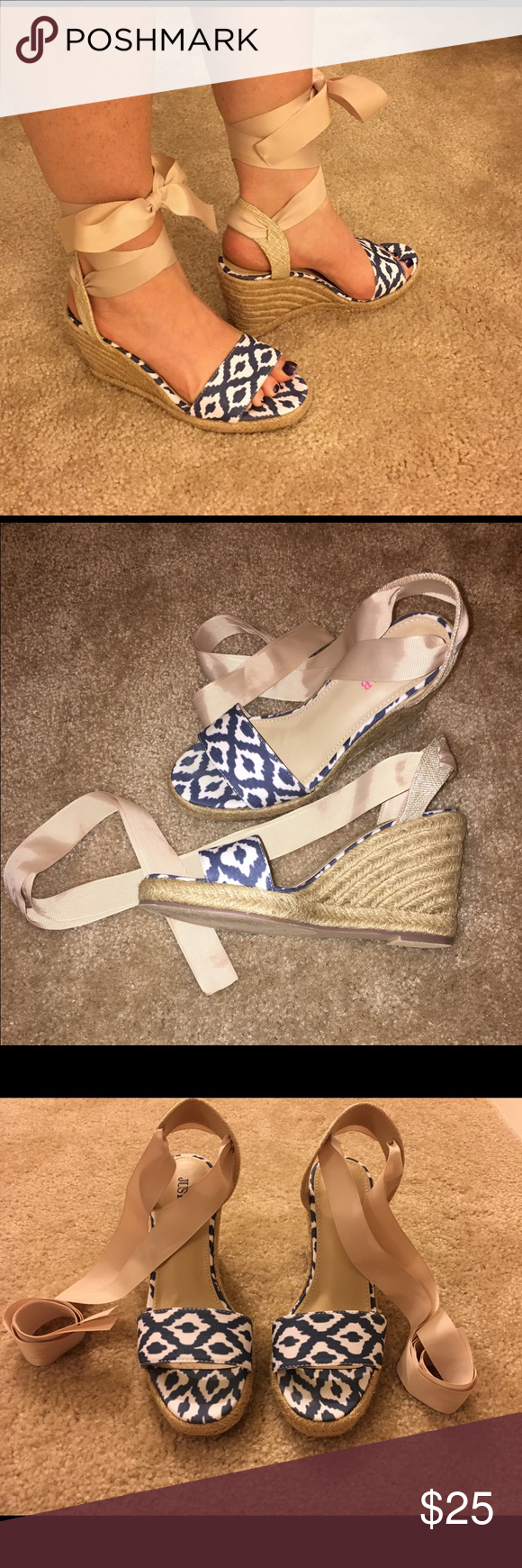 Lace up Espadrilles Super cute tie up espadrilles. Never worn. Size 6. Blue, white, and cream. Reasonable offers accepted 💗 Shoes