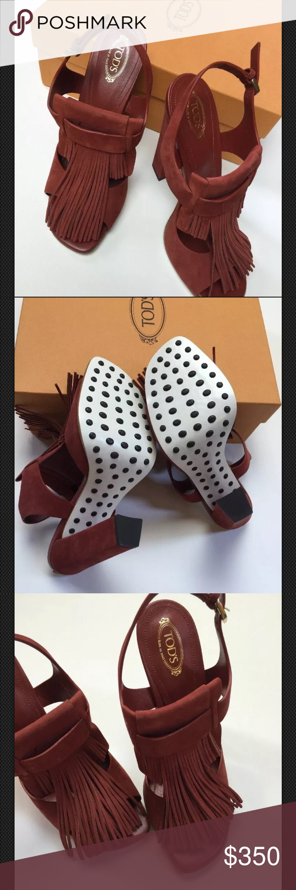 3d5f2aec15ffe5 NWT Tod s fringe maroon heels shoes Tod s women s summer sandals ...