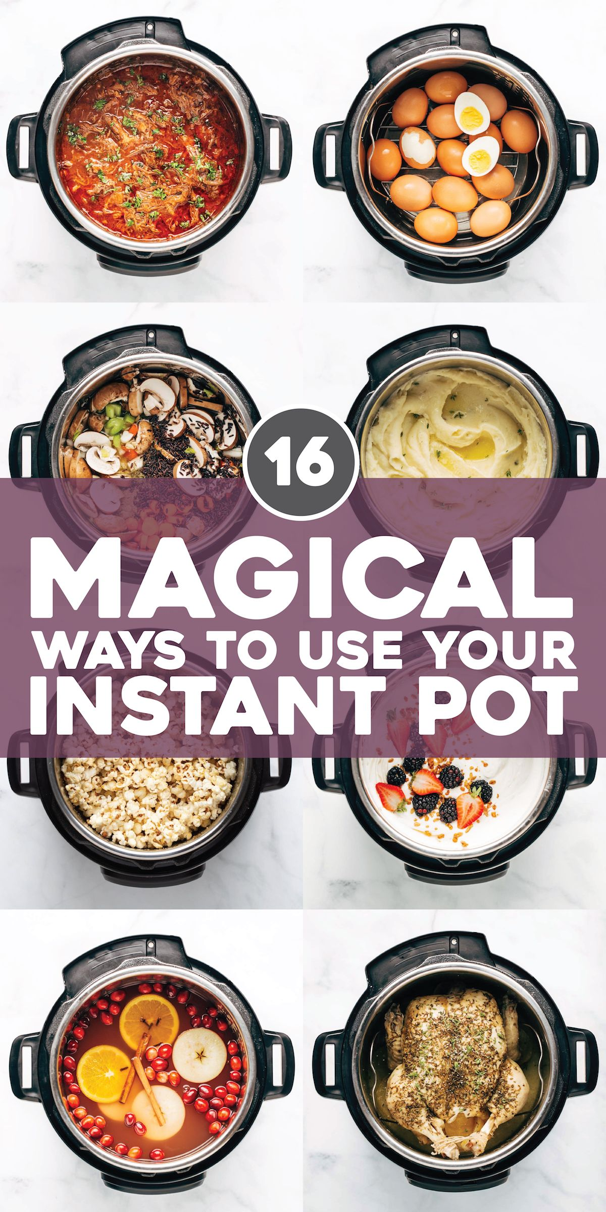 16 Magical Ways to Use Your Instant Pot! From soups, to yogurt, to snacks, to drinks: it does it all! One of our favorite all-purpose kitchen gadgets. #instantpot #cooking #holidays #mealprep | pinchofyum.com