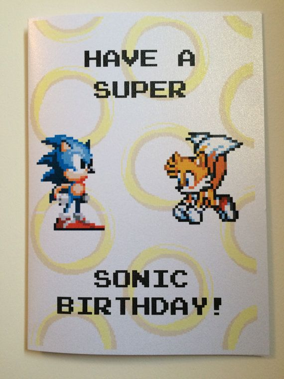 Sonic The Hedgehog Birthdaygreetings Card 8 Bit By Nerdycards