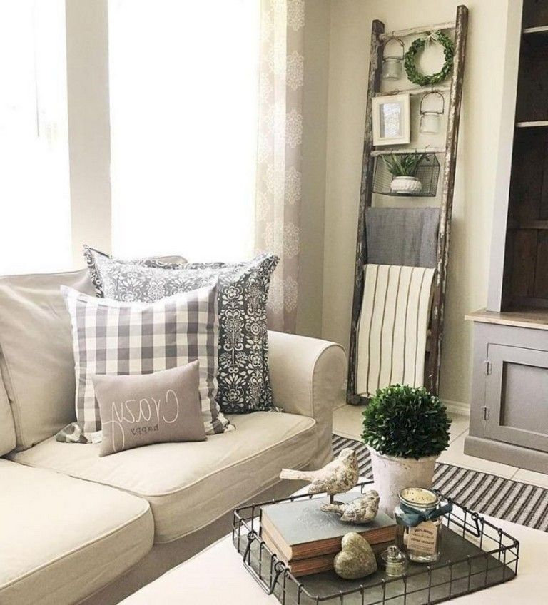 105+ Comfortable Farmhouse Living Room Decor Ideas ...