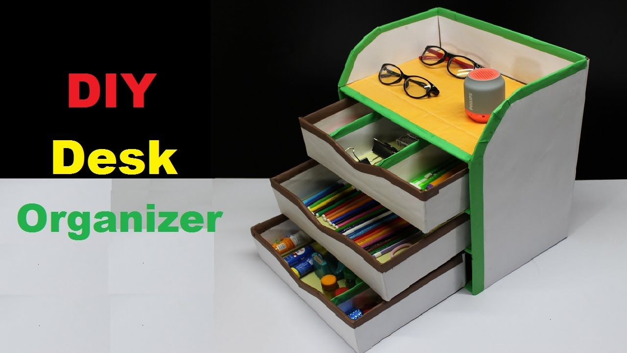 How To Make A Diy Desk Organizer Using Cardboard By Make It Easy