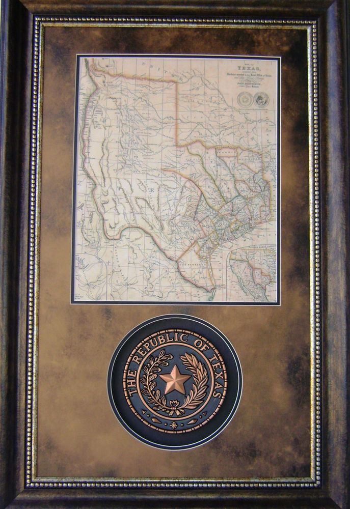 Framed Texas Map : framed, texas, 3D113, Republic, Texas, Western, Rustic, Framed, Frames,, Decor