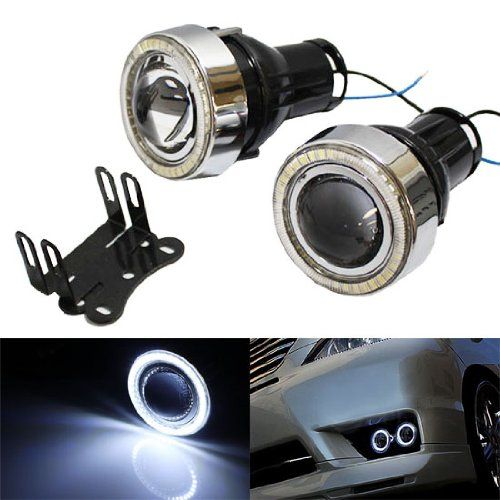 """iJDMTOY Universal Fit 3"""" Projector Fog Light Lamps w/ 40-SMD Xenon White LED Halo Angel Eyes Rings For Any Car"""