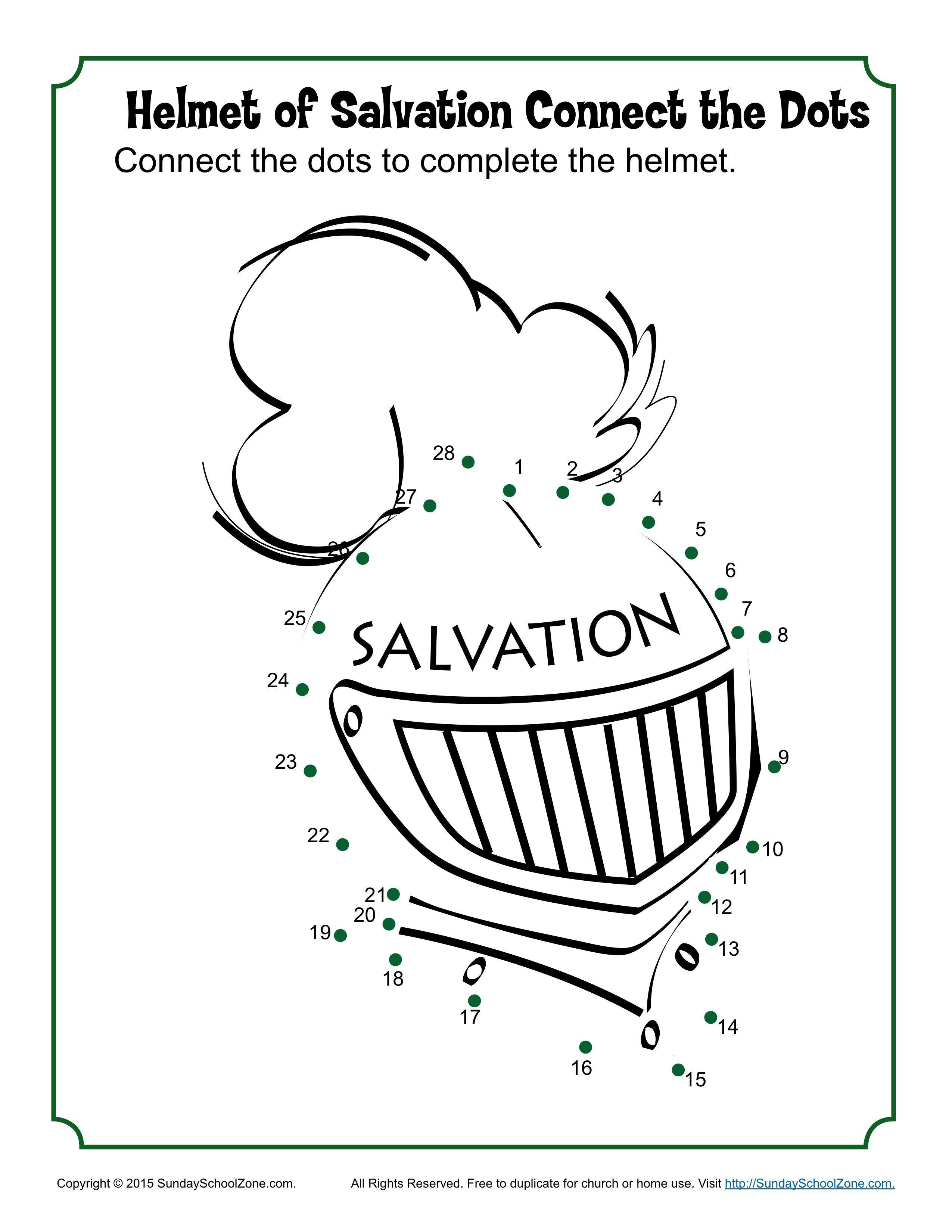 Helmet Of Salvation Connect The Dots Children S Bible Activities Sunday School Activities For Kids Bible Activities Childrens Bible Activities Kids Sunday School Lessons [ 3300 x 2550 Pixel ]