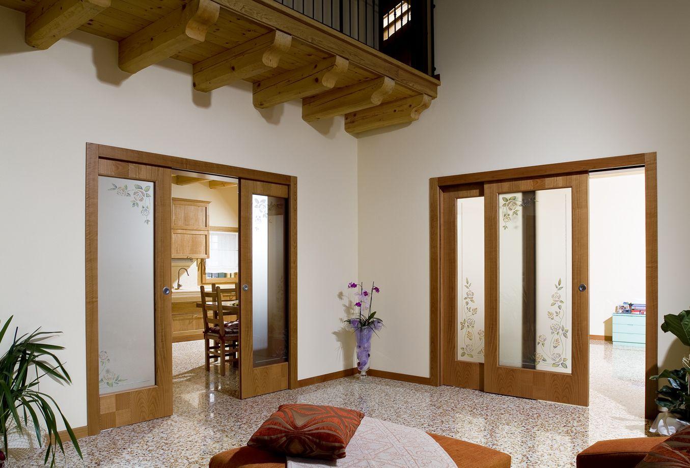 Porte Interne Color Ciliegio porta scorrevole imax. realizzata in legno di ciliegio +