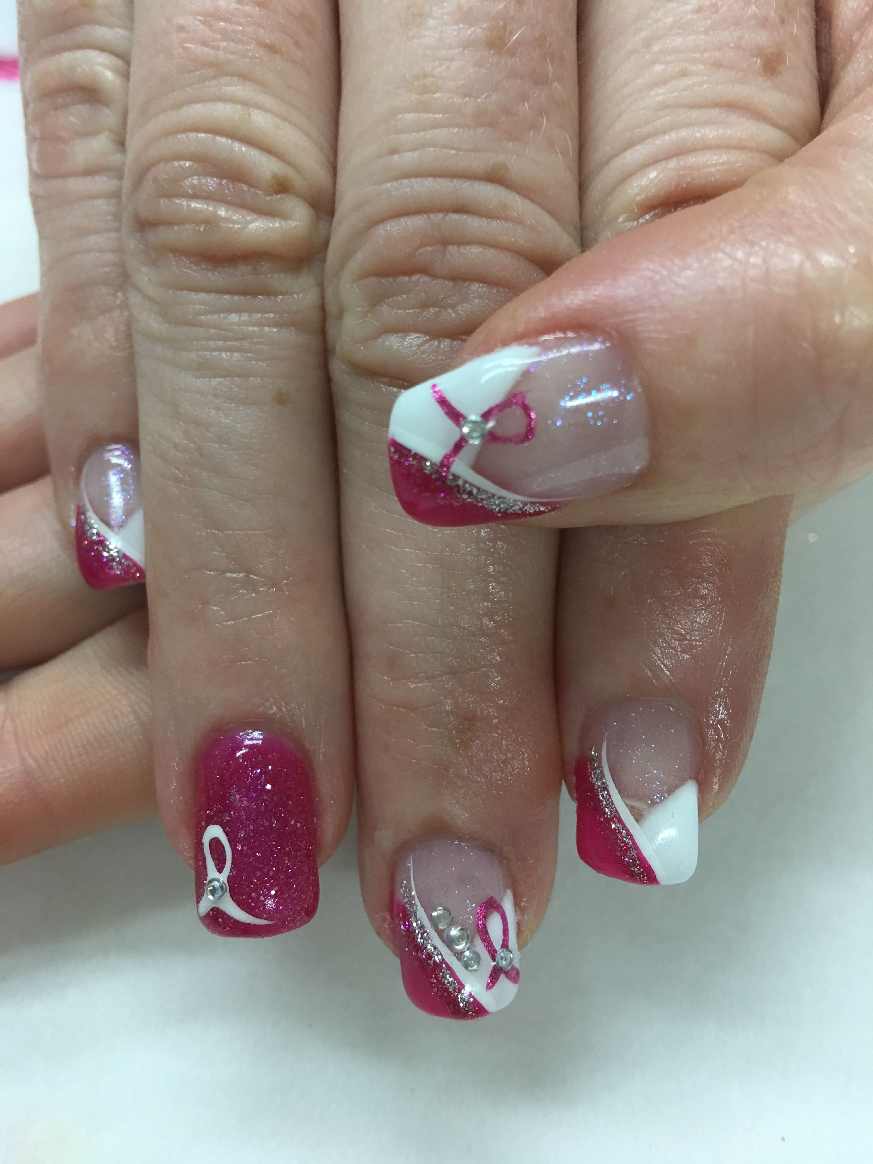 Pink & White Pink Ribbon Chevron French Gel Nails | Nails, Manicures ...