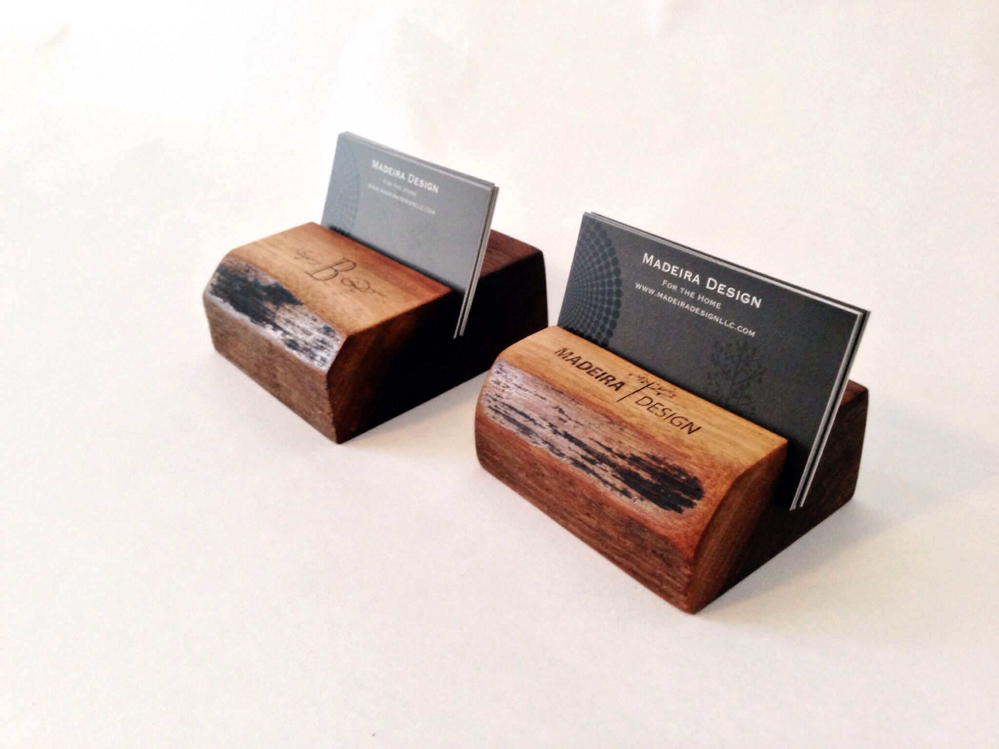 Personalized walnut business card holders