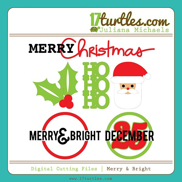 Merry  Bright Free Digital Cutting File #silhouette #SVG