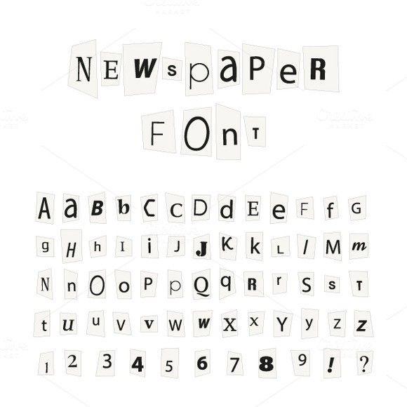 Black Newspaper Letters Font Symbol Fonts   Symbol Fonts