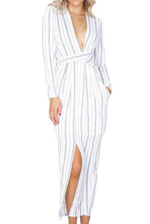 Robe Maxi Longue Raye Blanc Manches Longues Enveloppe