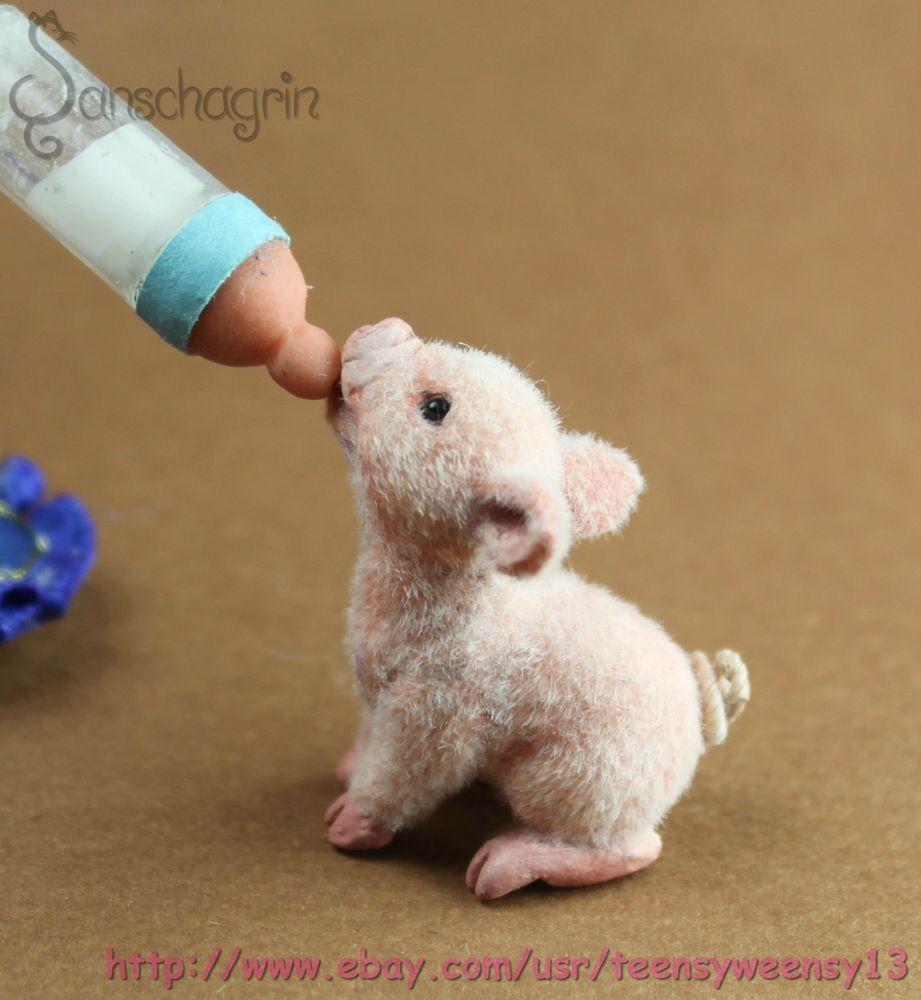 Dollhouse Miniatures Jensen: OOAK Dollhouse Miniature Pet Piglet 1:12 Handmade