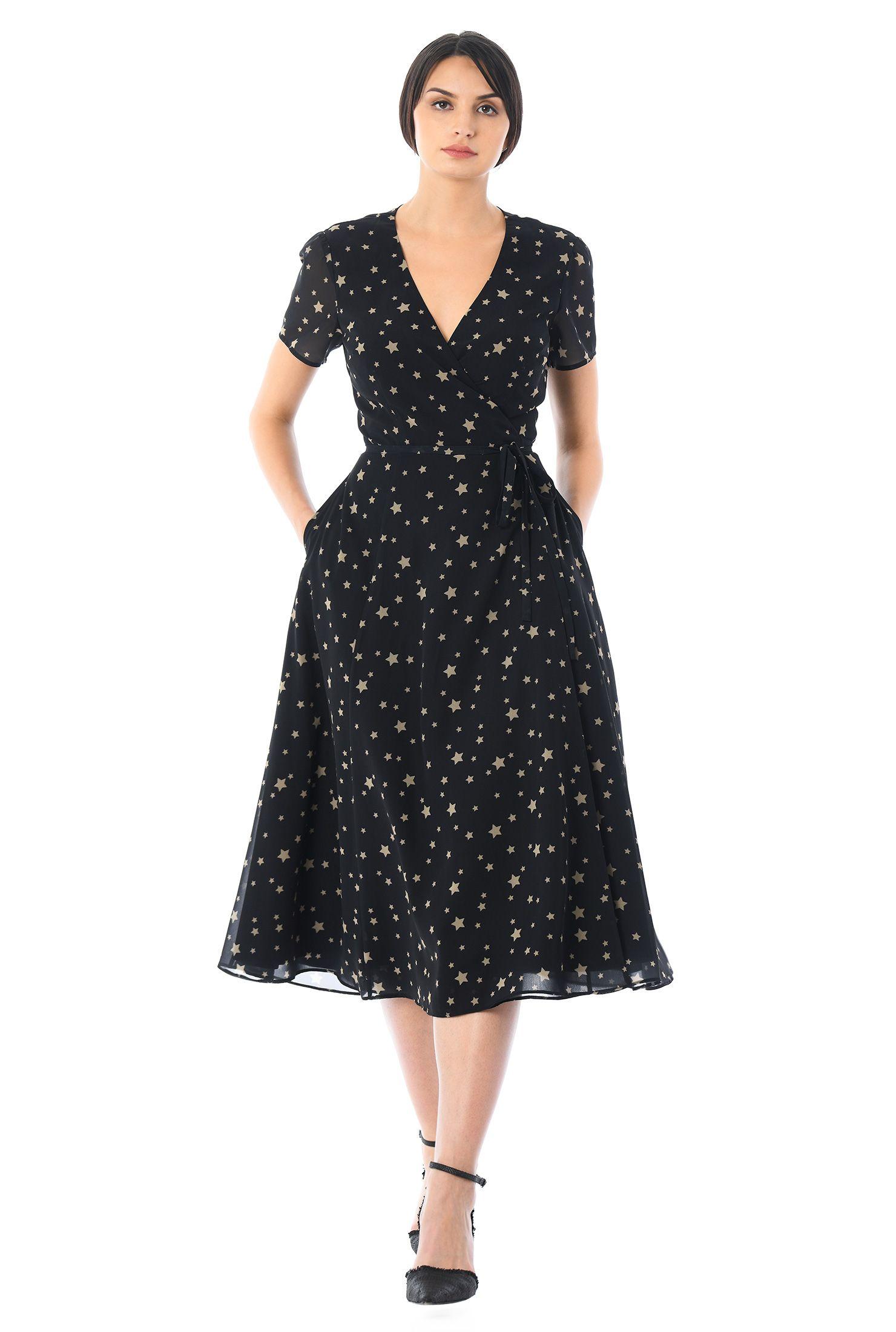 Star Print Georgette Midi Wrap Dress In 2020 Fabulous Dresses Designer Cocktail Dress Mid Dresses