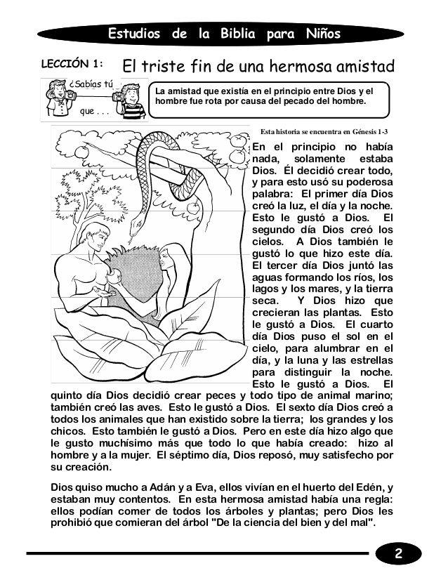 Estudios De La Biblia Para Ninosleccion 1 El Triste Fin De Una