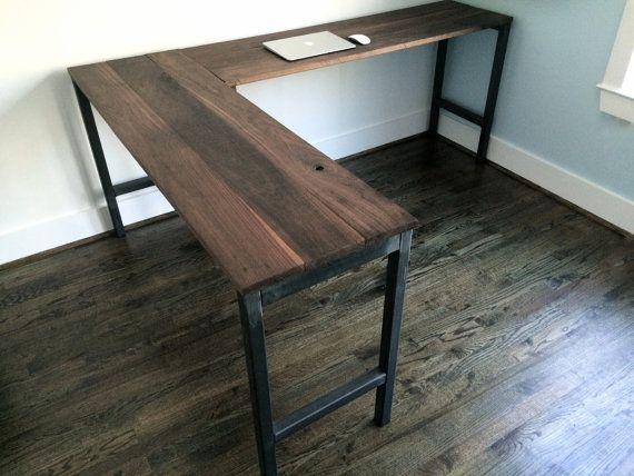 The Quot Dresden Quot L Shaped Desk Reclaimed Wood Steel Industrial Desk Custom Lengths Home Reclaimed Wood Desk L Shaped Desk
