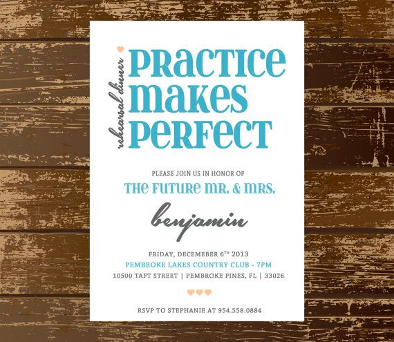 Practice Makes Perfect Rehearsal Dinner by simpALYpapers on Etsy, $20.00