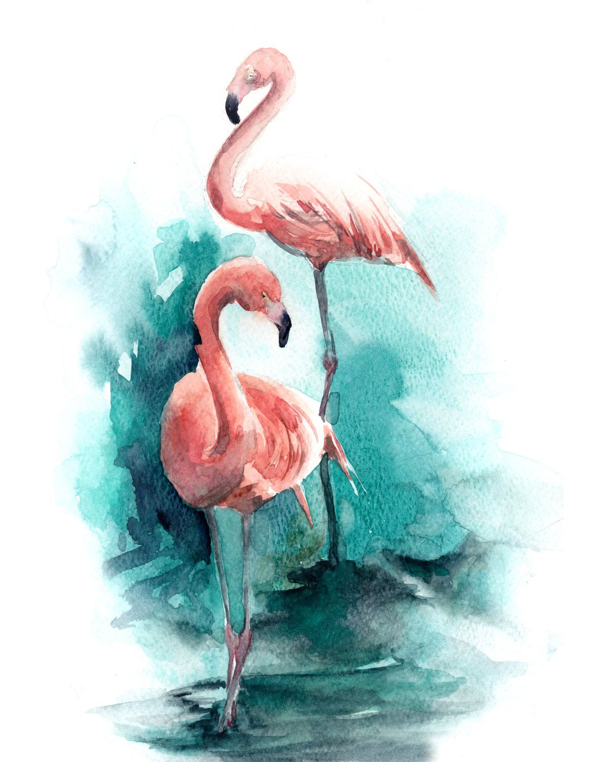Watercolor Print of Pink Flamingos on Emerald Abstract ...