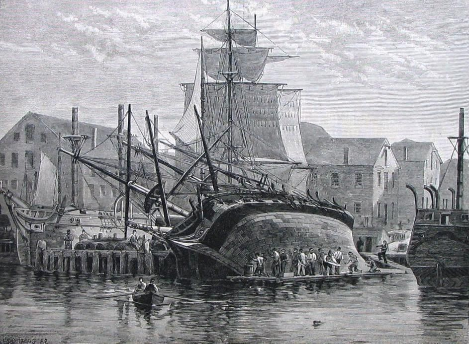 An_old_whaler_hove_down_for_repairs_near_new_bedfordjpg