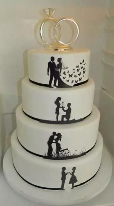 Silhouette #Wedding #cake. # #I #think #this #is #really #cute! ,  #Cake #Cute #Silhouette #w…