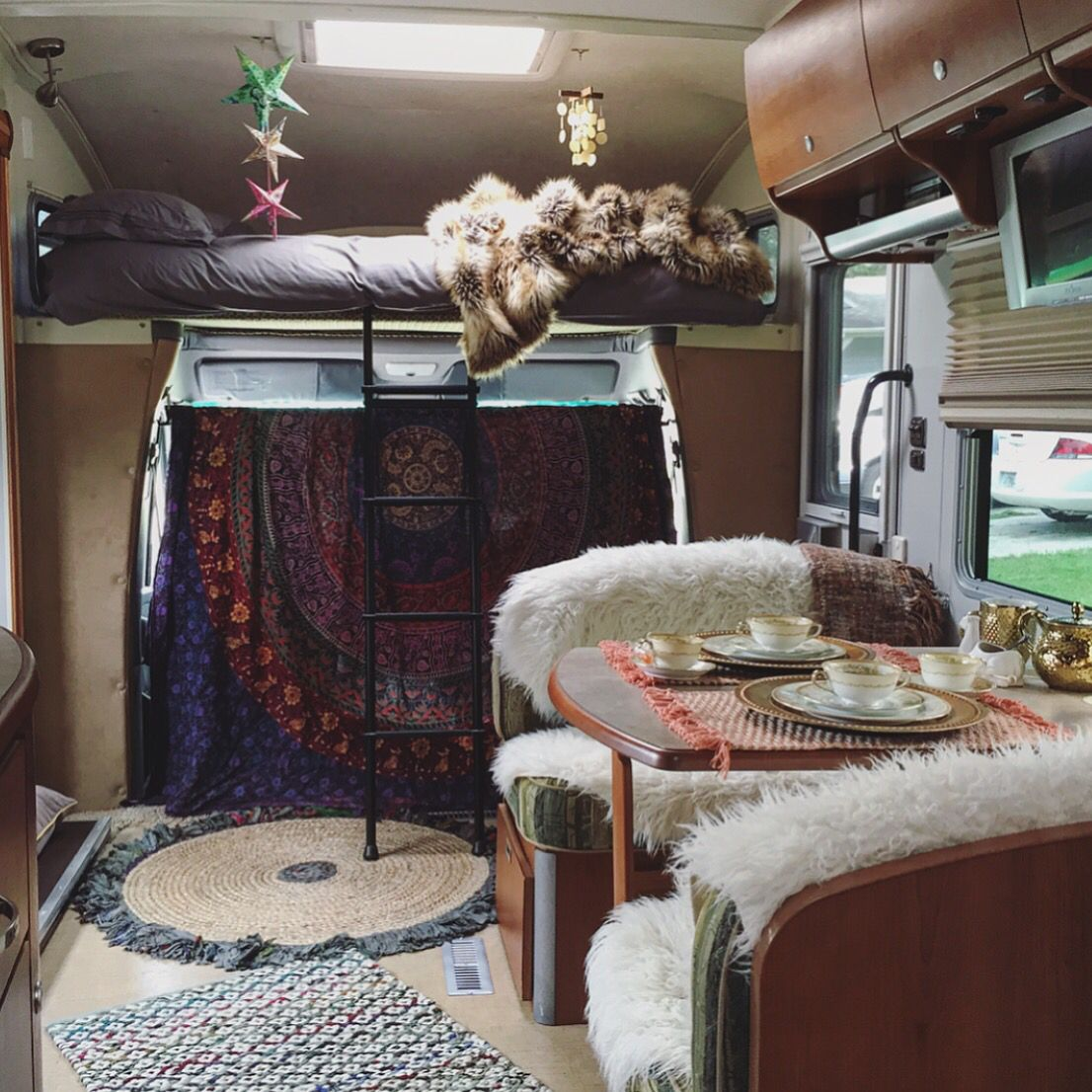 bohemian rv decor boho vibes rv living camper interior design rv interior camper. Black Bedroom Furniture Sets. Home Design Ideas