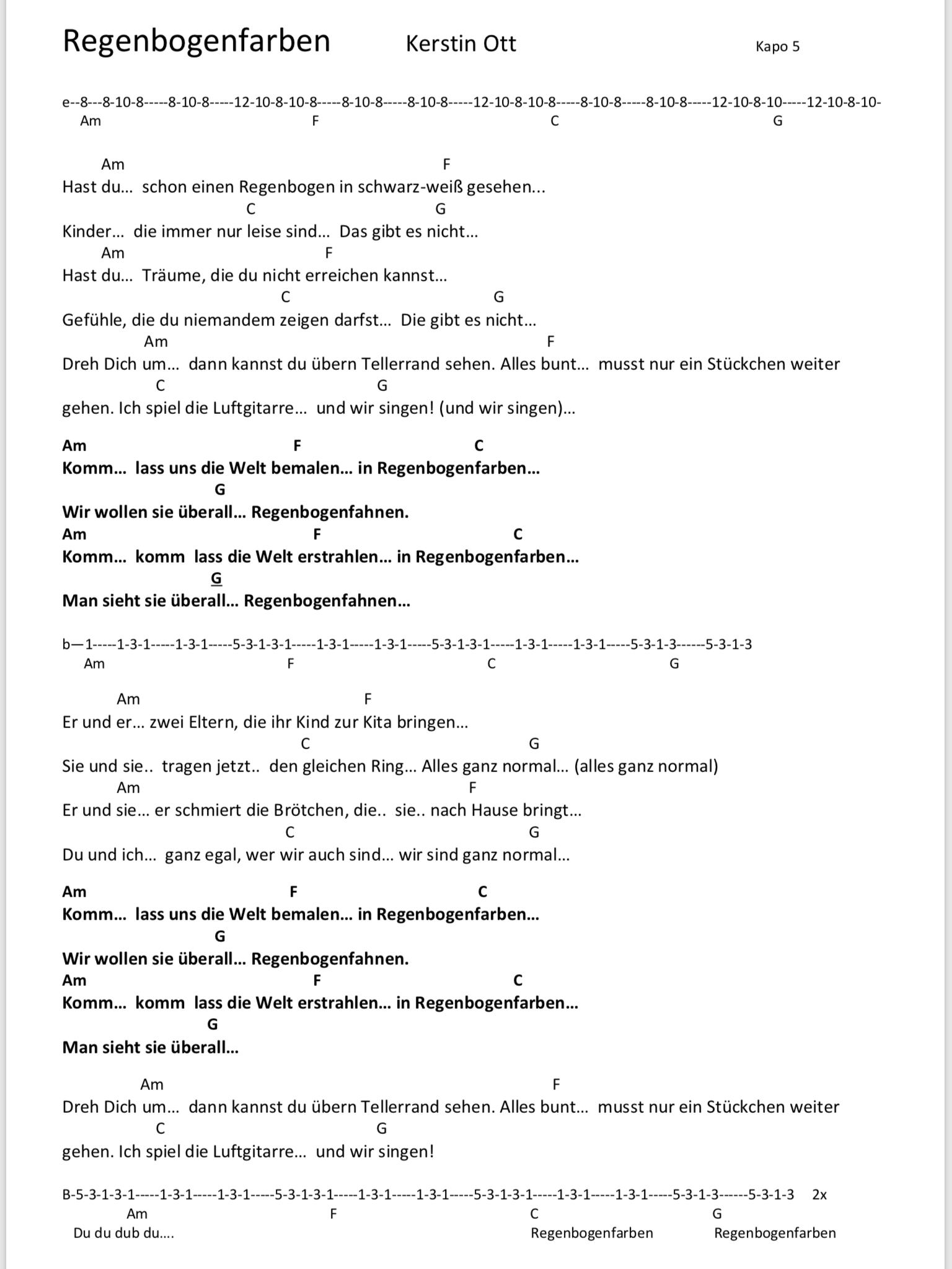 Regenbogenfarben Kerstin Ott Songtext Und Akkorde In 2019