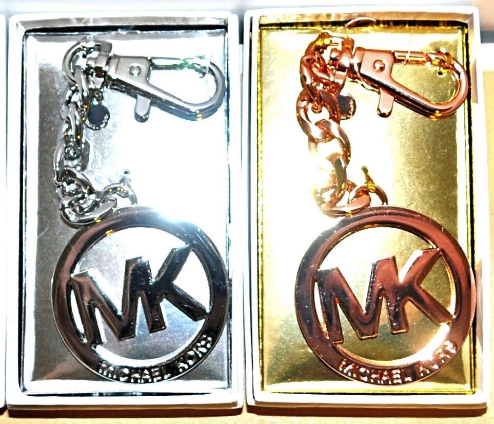 Michael Kors Gold Silver Or Rose Mk Logo Clip On Key Chain Purse Charm Nib Michaelkors Keychains