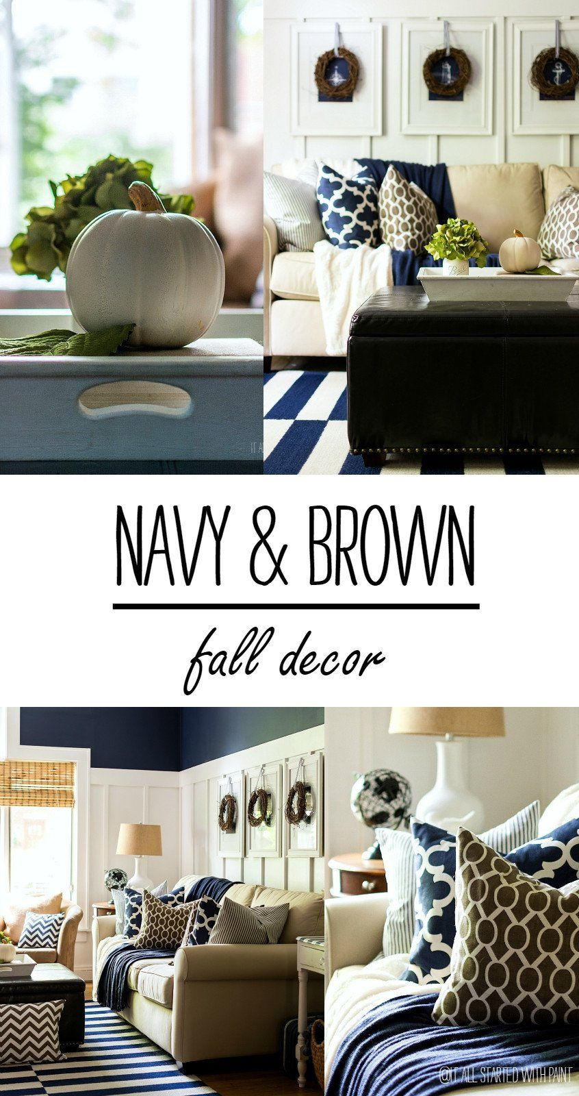 Blue And Brown Home Decor Fall Decor In Navy And Blue Brown And Blue Living Room Home Decor Blue Living Room