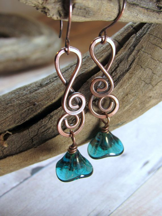Swirly Hammered Copper with Mystic Blue Glass Flower Dangles ...