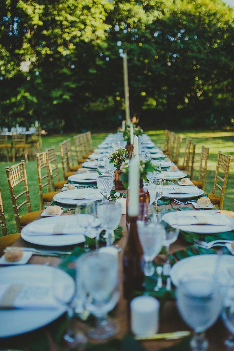 Garden event decor  Outdoor wedding in the garden with a boho and simple wedding decor