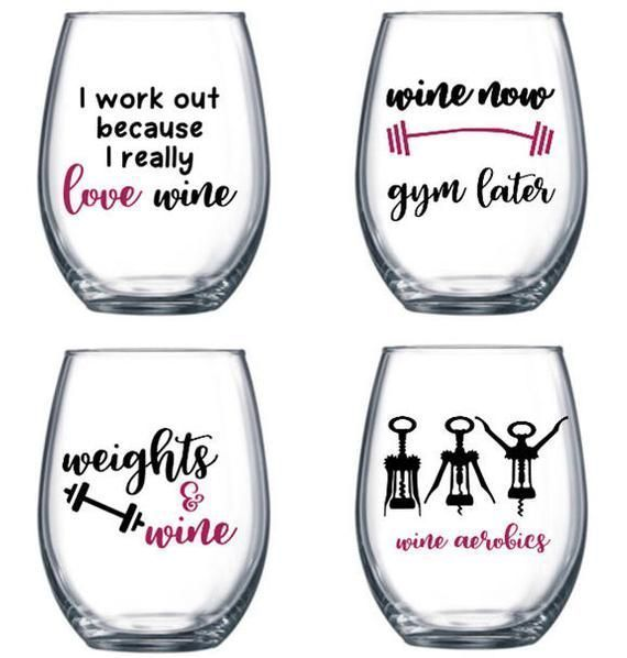 Set of 4 Stemless Wine Glasses with funny/cute fitness sayings - fitness themed ...  #Fitness #funny...