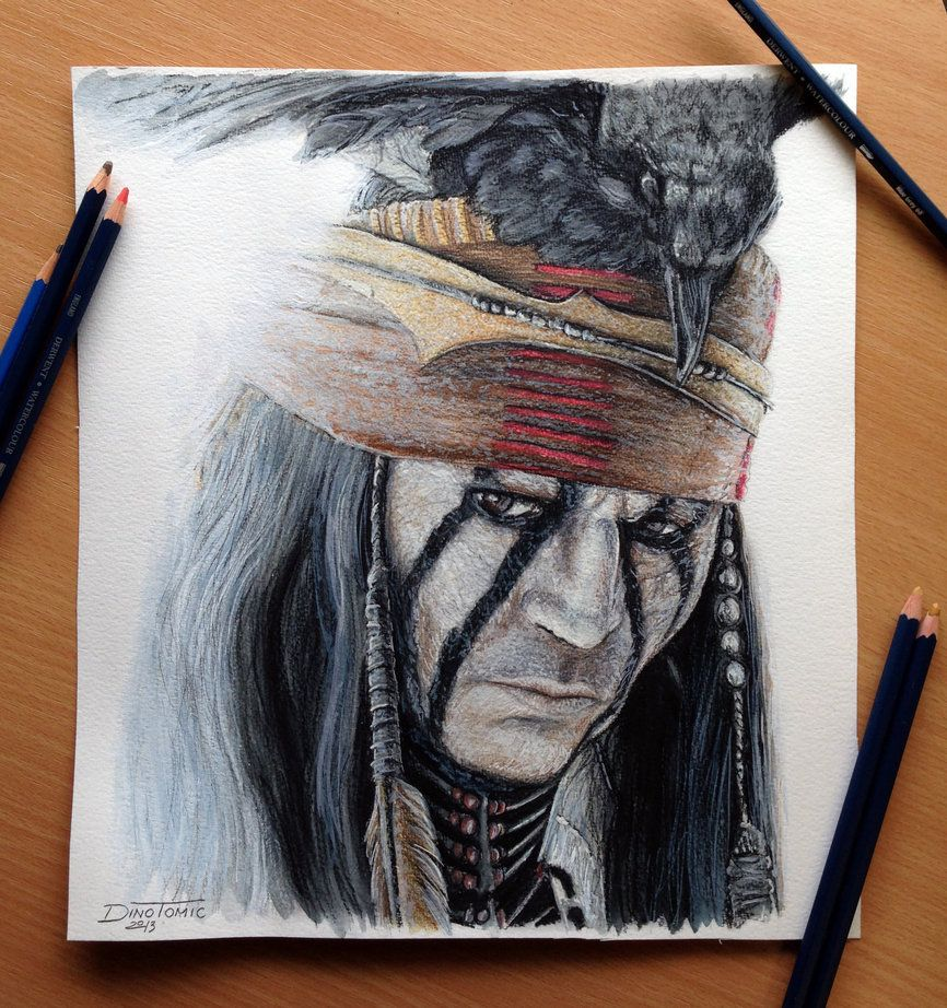 The Lone Ranger-Tonto Color Pencil Drawing by *AtomiccircuS
