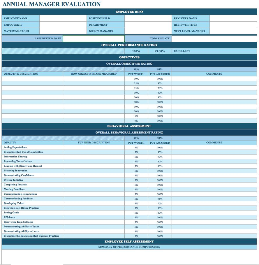 Free Employee Performance Review Templates Smartsheet Employee Performance Review Evaluation Employee Performance Reviews