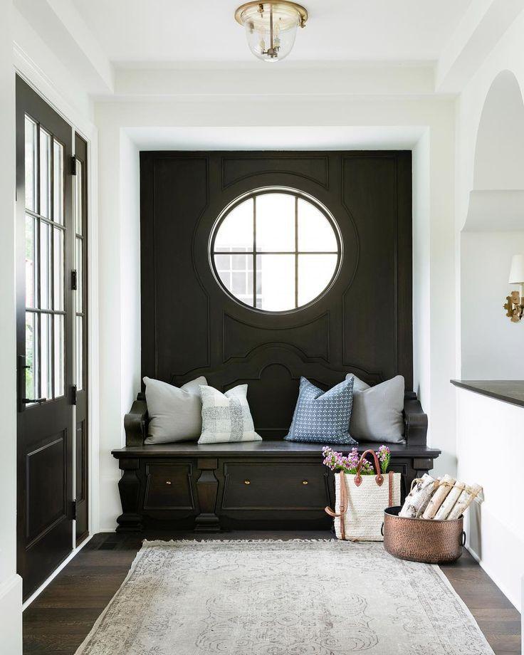 Bedroom Black Rug Glass Bedroom Door Bedroom Paint Ideas Feature Walls Bedroom Door Colors: Black Entryway Nook -- Decorating With A Dark Color
