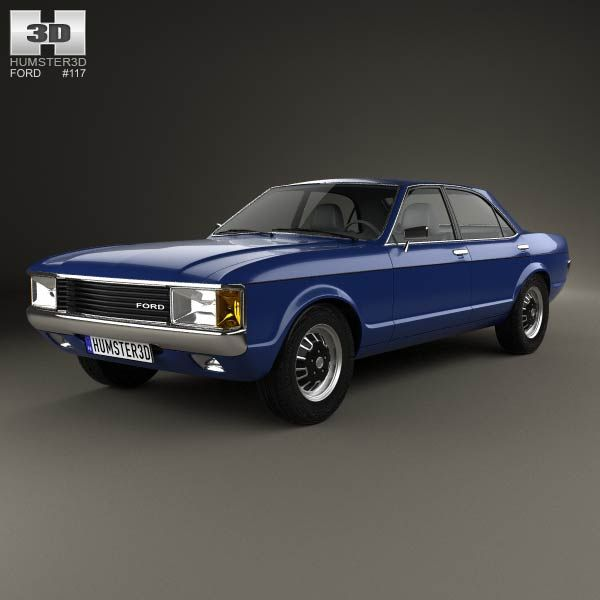 Ford Granada 4-door Sedan EU 1972 3d Model From Humster3d