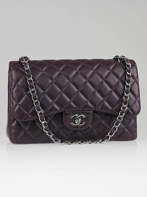 6e4ce5cbeb3b Chanel Plum Quilted Lambskin Leather Classic Jumbo Double Flap. Ooh ...
