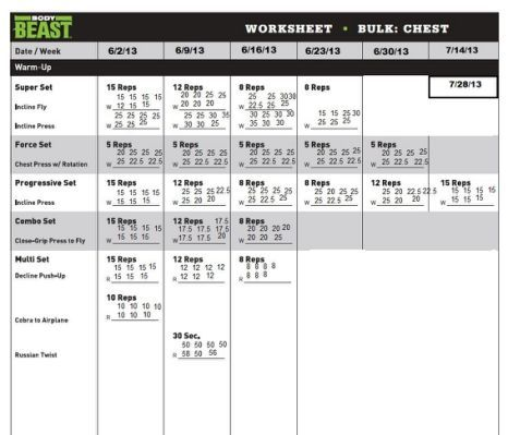 Body Beast Workout Sheet Search Fitness Pinterest Workout - workout sheet