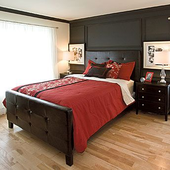 dark dark wood floors bedroom. Dark wood furniture and walls make a striking contrast with the red bedding  set light