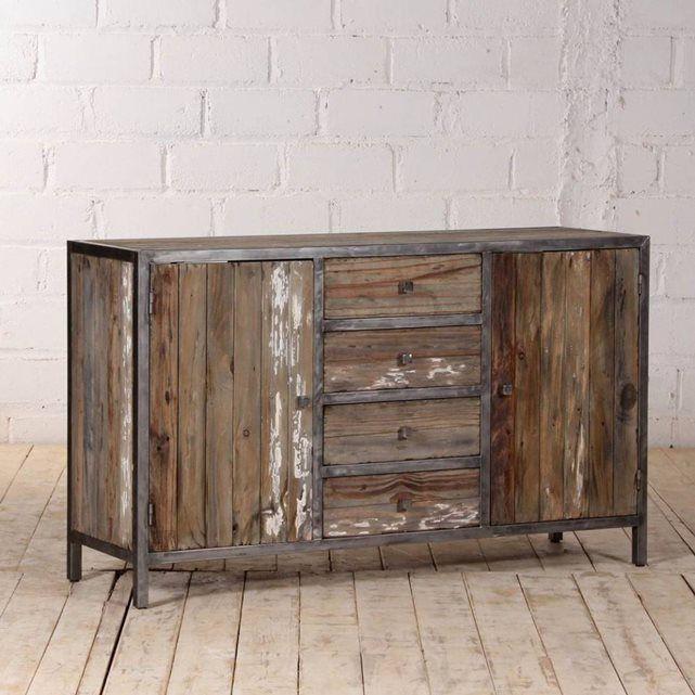 buffet en bois de pin recycle et metal largeur 150 cm 2 portes