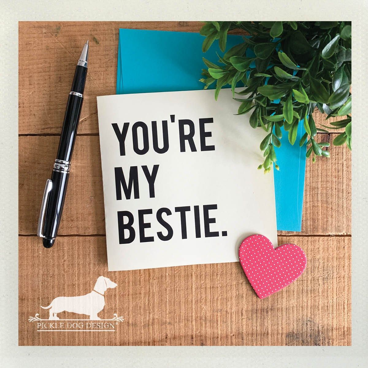 you're my bestie note cards set of 5  simple friend