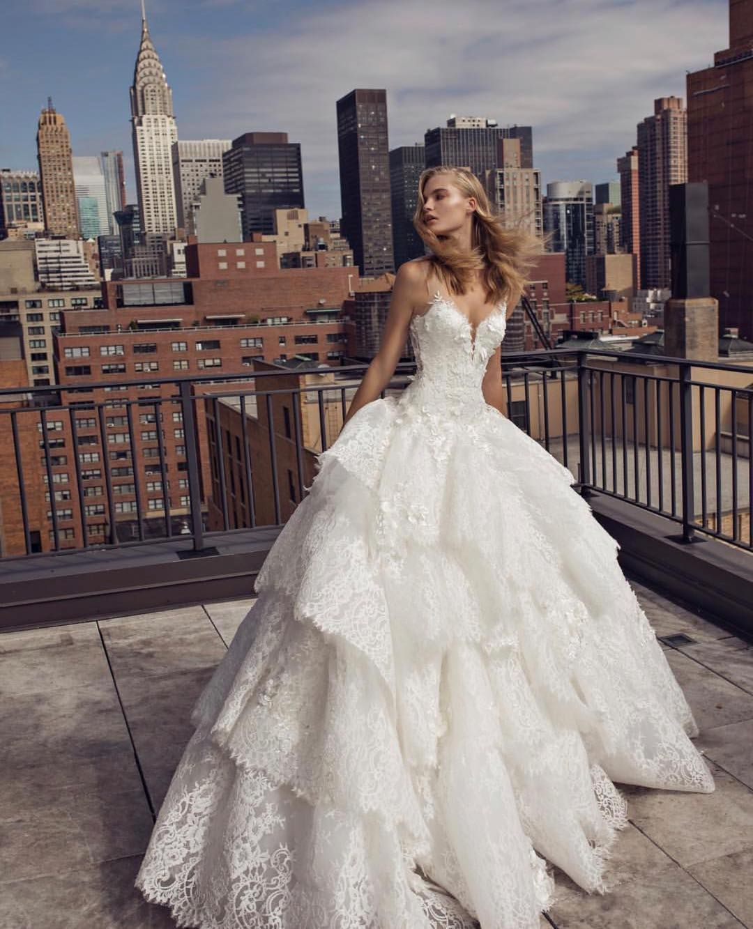 Lace ball gown tiered lace skirt wedding dress by Pnina