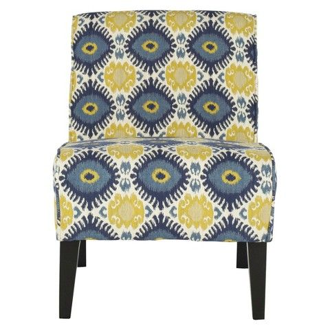 Why fit in when your furniture was designed to stand out? The Safavieh Rodeo Chair is no wallflower - the bold blue and yellow pattern is striking from a distance and even more stunning up close. Black wood legs balance the pattern perfectly, and anchor the chair literally and visually.