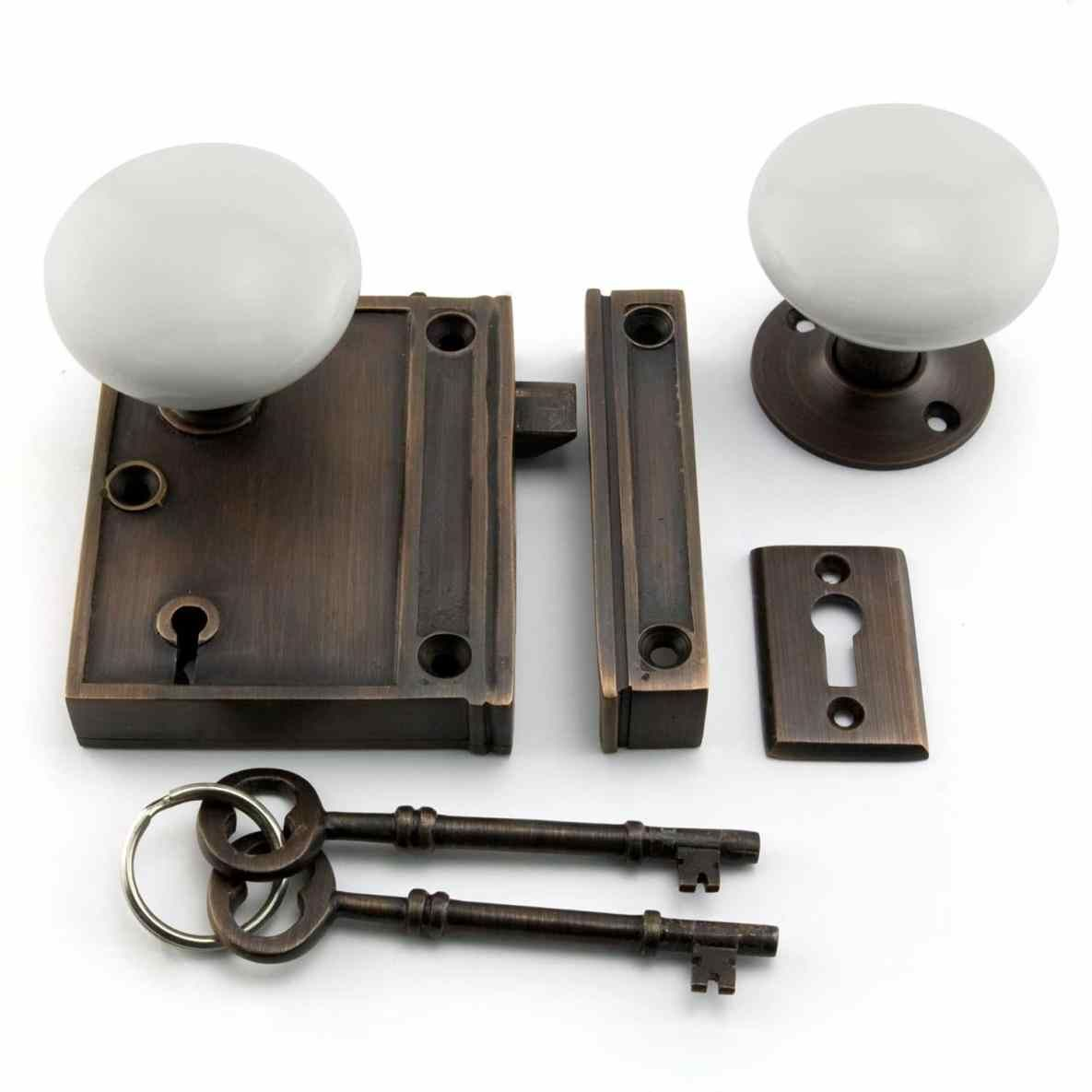The Historic Pattern Makes This Vertical Rim Lock Set With Porcelain Knobs  Appropriate For Restorations And As Replacement Kits, Or Add To A New Home  For A ...