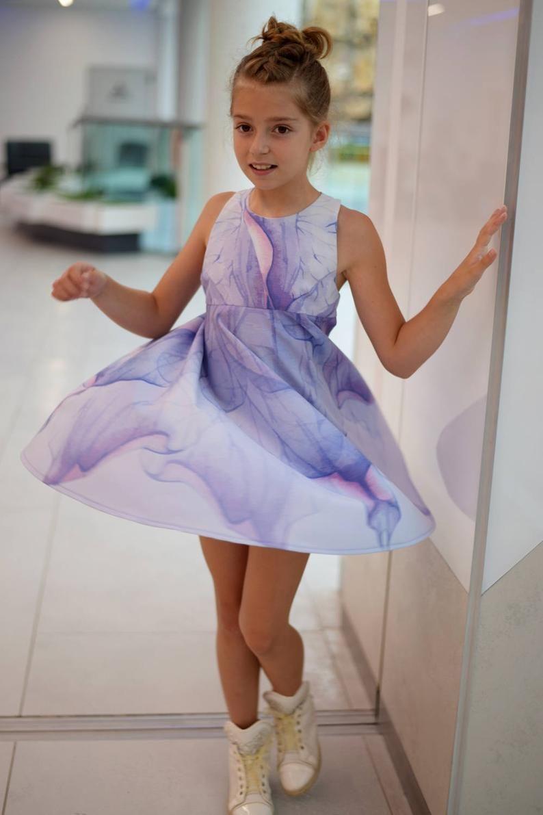 Girls printed flared dress sundress flower dress toddler
