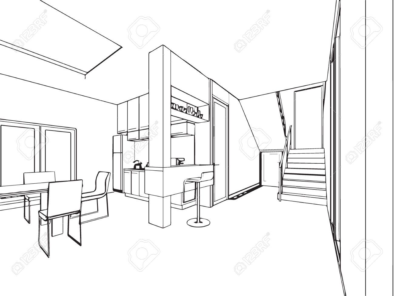 Prinzipskizze Zeichnung Perspektive Eines Innenraums Lizenzfrei Nutzbare Vektorgrafiken, Clip Arts, Illustrationen. Image 50643155.