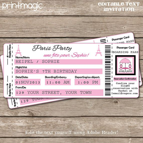 Paris Airline Ticket Invitation with Editable Text Download – Airline Ticket Birthday Invitations
