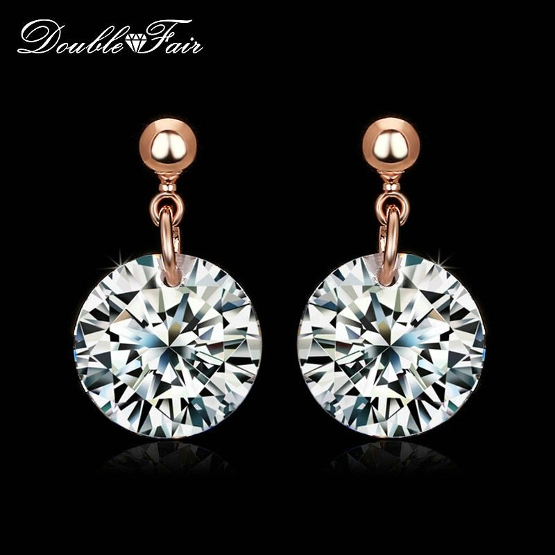 Double Fair Simple OL Style Cubic Zirconia Stud Earrings For Women Rose  Gold Color Fashion CZ Wedding Jewelry Wholesale DFE153 bbd46323d