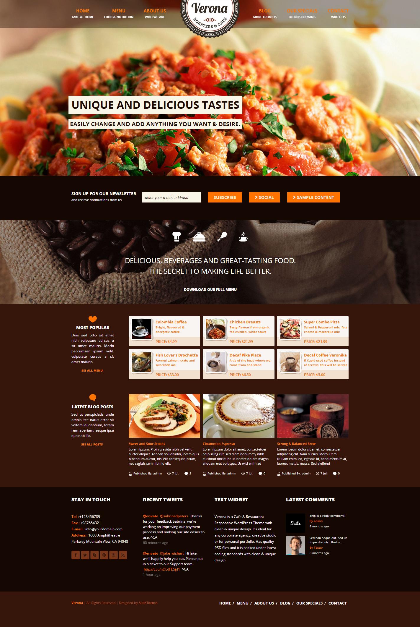 Food restaurant concept layout web design