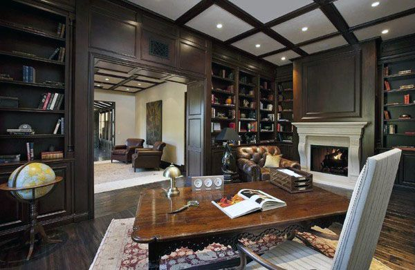 90 Home Library Ideas For Men Private Reading Room Designs Home Library Design Office With Fireplace Home Library