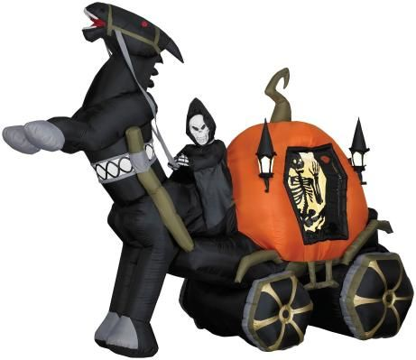 HALLOWEEN HAUNTED ANIMATED GRIM REAPER PUMPKIN CARRIAGE INFLATABLE - halloween inflatable decorations
