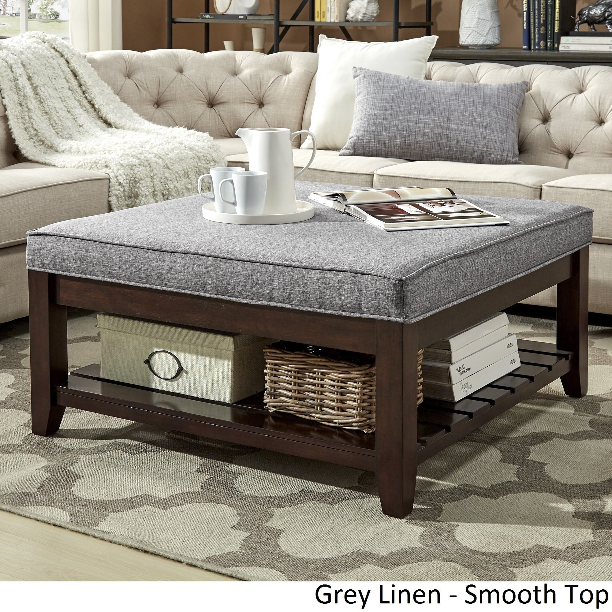 Large Living Room Coffee Table Lennon Espresso Planked Storage